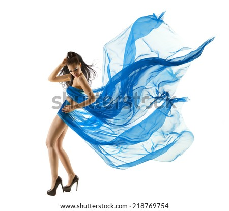 Woman Sexy Dancing in Blue Dress. Fashion Model dance with Waving fluttering Fabric. Long legs. White Isolated Background - stock photo