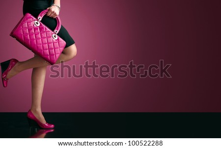 Woman sexy legs with handbag. Shopping and business - stock photo