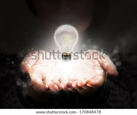 Woman sharing her idea and knowledge - stock photo