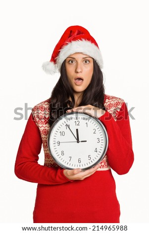Woman shocked at the time on white background