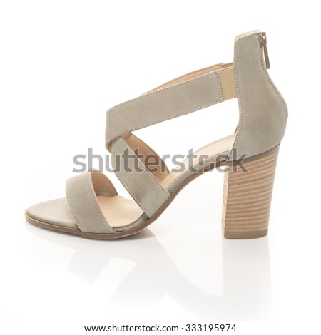 woman shoe, leather sandal isolated on white  - stock photo