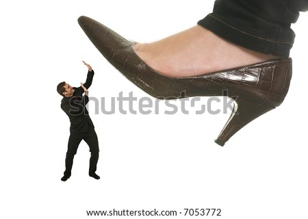woman shoe stepping on business men concept on white - stock photo