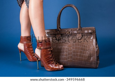 woman shoes and bag studio blue background