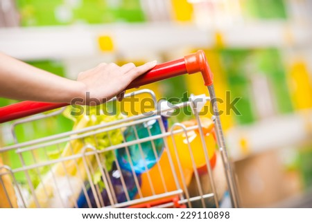 Woman shopping at supermarket, hands on trolley close-up. - stock photo