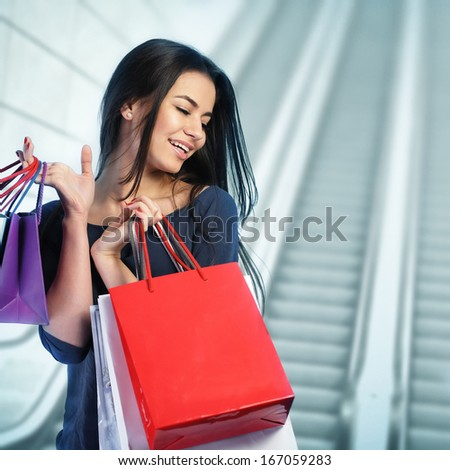 Woman shopping at the mall