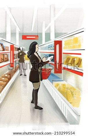 Woman shopping food Adult woman, caring mother, attentive customer, exploring packaging, chooses products, buy at the grocery store. Healthy Eating - stock photo