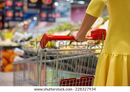 Woman shopping for groceries in supermarket - stock photo