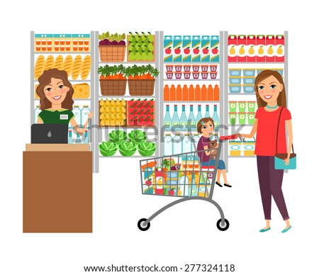 Woman shopping in grocery store. Customer market, sale supermarket, cashier and retail - stock photo