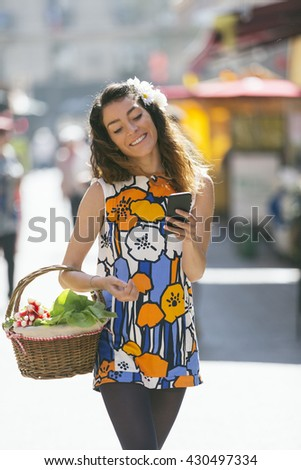 Woman shopping in Paris - stock photo
