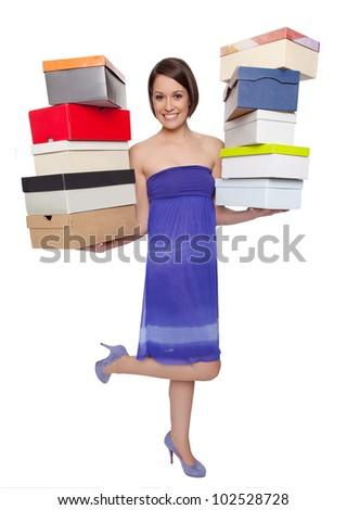 woman shopping shoes - stock photo