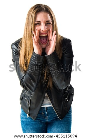 Woman shouting - stock photo