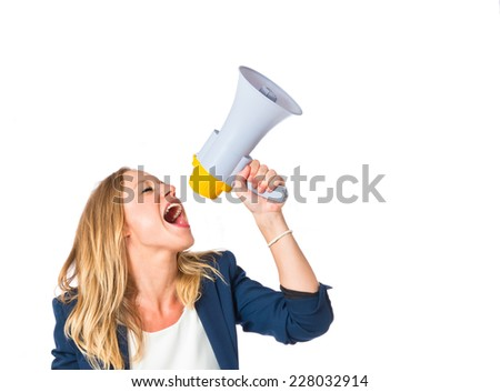 Woman shouting over isolated white background - stock photo