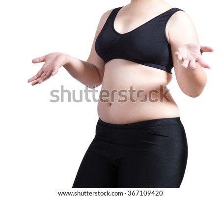 woman show body fat wear black bra isolated on white - stock photo