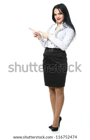 woman show demonstrate smiling modern business woman presenting something on empty hand isolated on white - stock photo