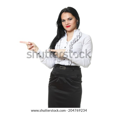 woman show demonstrate smiling modern business woman presenting something  pointing isolated on white - stock photo