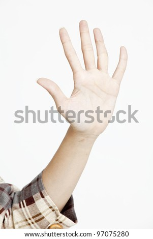 woman show hand sign