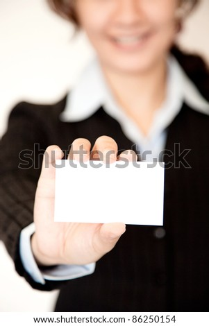 Woman show name card in uniform - stock photo