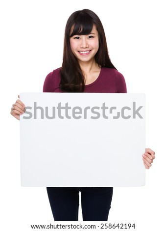 Woman show with white board - stock photo