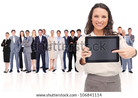 Woman showing a screen against a white background