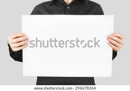 woman showing banner isolated on white background.