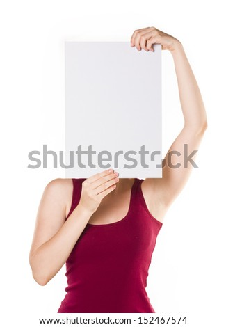 woman showing blank signboard , isolated