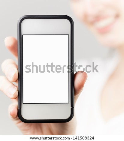 Woman showing blank smart phone mobile - stock photo
