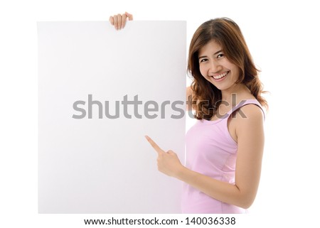 Woman showing blank white board