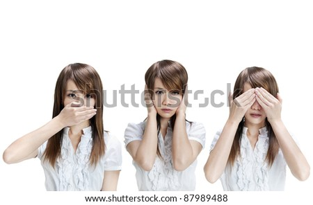 Woman showing different gesture on white background - stock photo