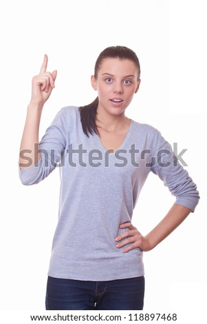 woman showing finger up, symbol have idea - stock photo