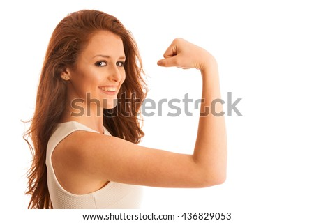 Woman showing her arm as a gesture for strrenght  isolated over white