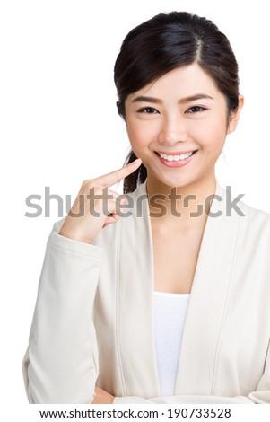 Woman showing her teeth  - stock photo