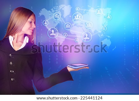woman showing holding on world map and teamwork people - stock photo
