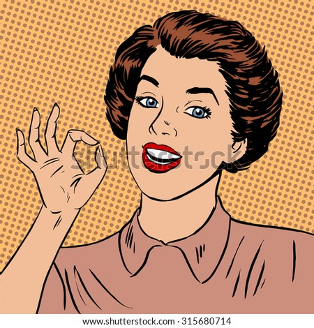 Woman showing okay gesture well the quality is perfectly fine Halftone style art pop retro vintage