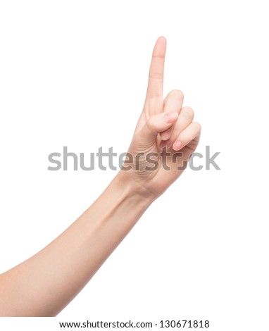 Woman showing one finger - stock photo
