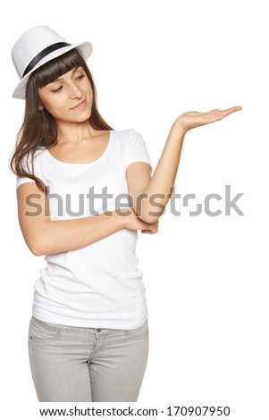 Woman showing open hand palm with copy space for product or text - stock photo