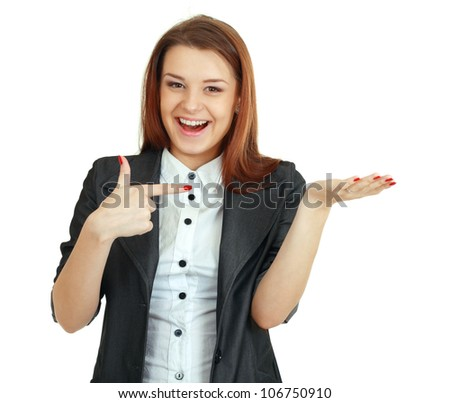 woman showing open hand palm with copy space for product or text. Gorgeous - stock photo