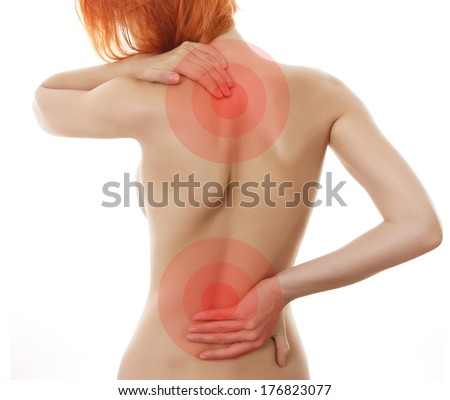 Woman showing pain in back .Medical concept