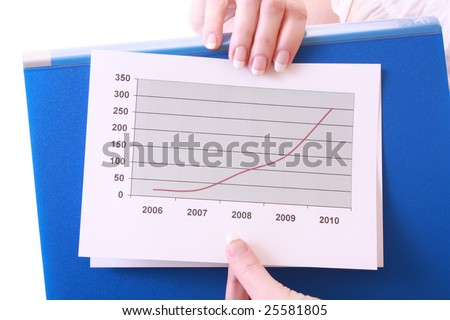 Woman showing positive chart - stock photo