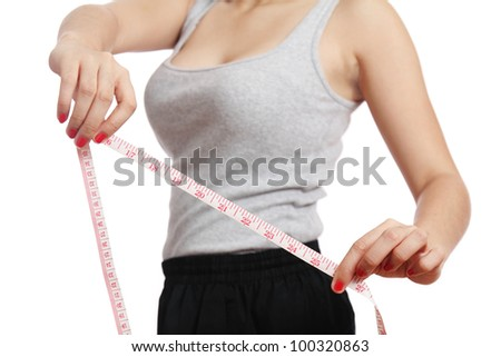 Woman showing sexy body measurement.