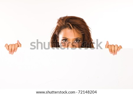 Woman showing sign. Cute casual young beautiful woman showing blank white sign isolated on white background waist up. Pretty, lovely and fresh asian caucasian female model.