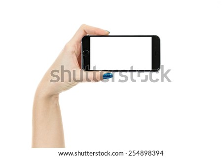 Woman showing smart phone in iphon 6 style with isolated screen, isolated on white