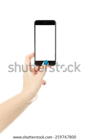 Woman showing smart phone in iphone style with isolated screen, isolated on white