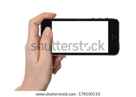 Woman showing smart phone similar to iphone with isolated screen, isolated on white