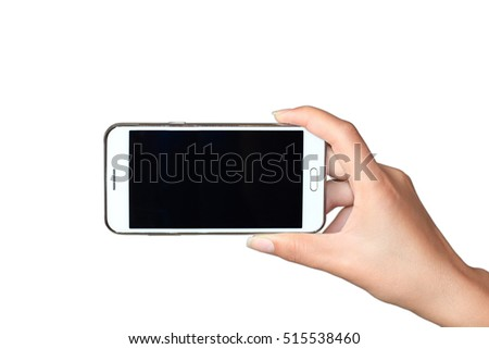 Woman showing smart phone with isolated screen in hand. Isolated on white.