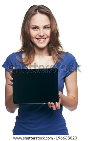 Woman showing tablet screen smiling isolated on white background - stock photo