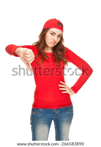 Woman showing thumbs down isolated on white - stock photo