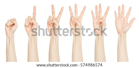 Woman showing Zero to five fingers count signs isolated on white background