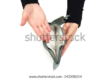 woman shows empty wallet - stock photo