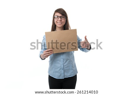 woman shows finger  the envelope - stock photo