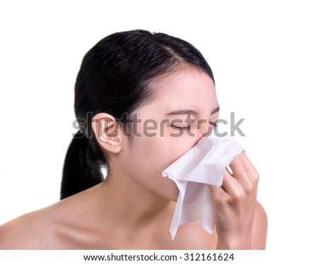 woman sick blowing nose isolated - stock photo